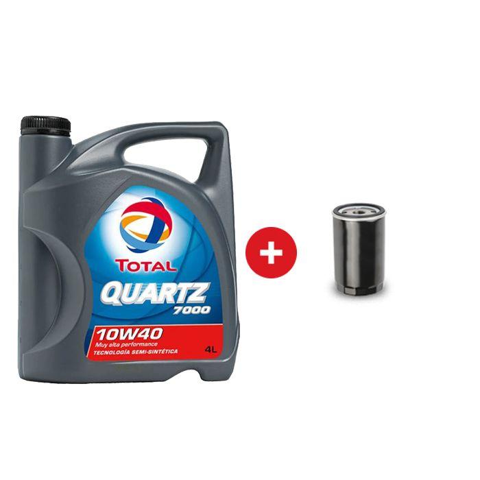 Cambio de aceite semi sintético Total Quartz 7000 10w40 + Filtro de aceite
