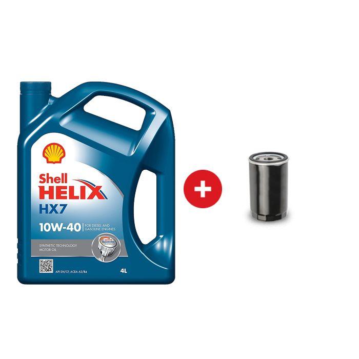 Cambio de aceite semi sintético Shell Helix HX7 10W40 + Filtro de  aceite