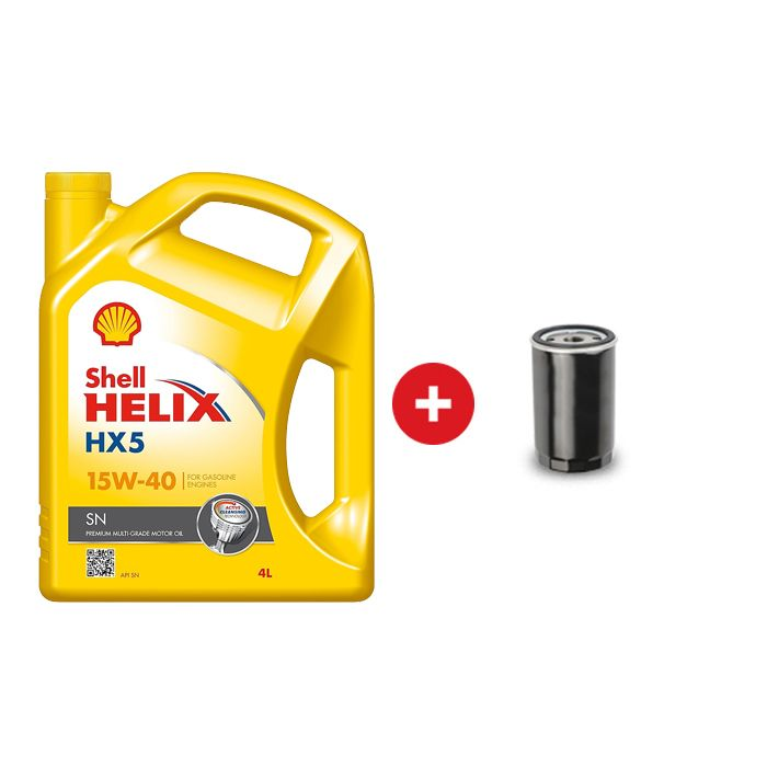 Cambio de aceite mineral Shell Helix nafta HX5 15W40 + Filtro de aceite